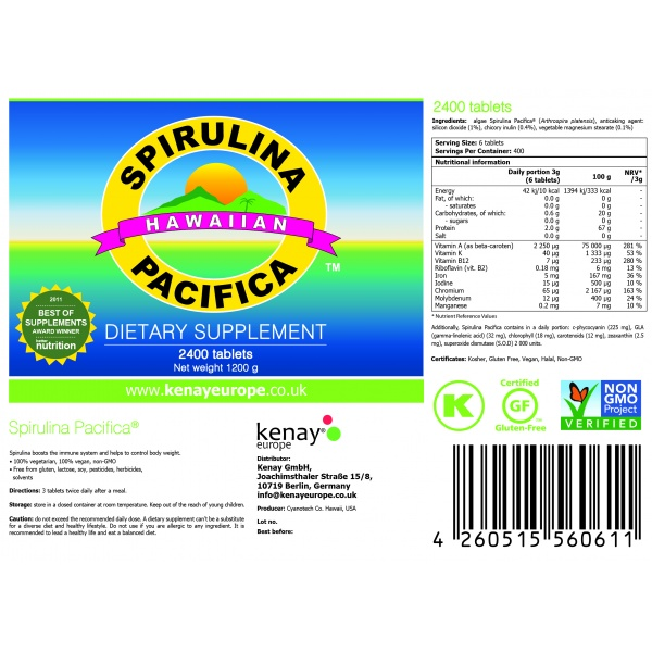 Spirulina Pacifica® 500 mg 2400 tablets – dietary supplement