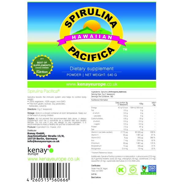 Spirulina Pacifica®, 540 g powder – dietary supplement